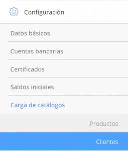 Módulo de configuración Carga de lista de clientes