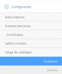 Módulo de configuración Carga de productos