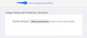 Módulo de configuración Plantilla excel carga de productos