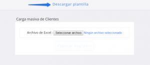 Módulo de configuración Carga lista de excel clientes
