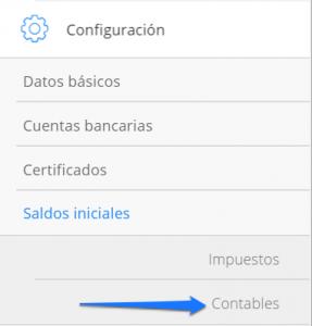Módulo de configuración Saldos iniciales contables