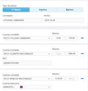 Módulo de contabilidad Póliza manual Utilidad cambiaria