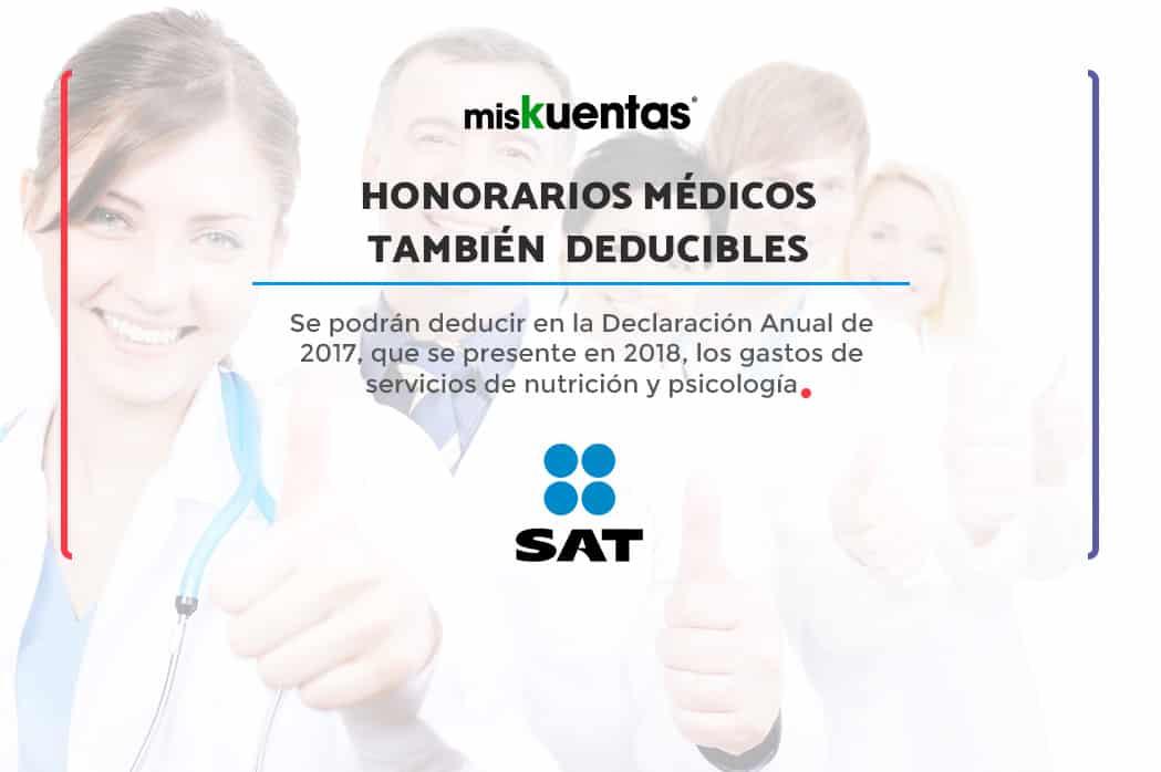 Se podrán deducir en la Declaración Anual de 2017, que se presente en 2018, los honorarios médicos de nutrición y psicología