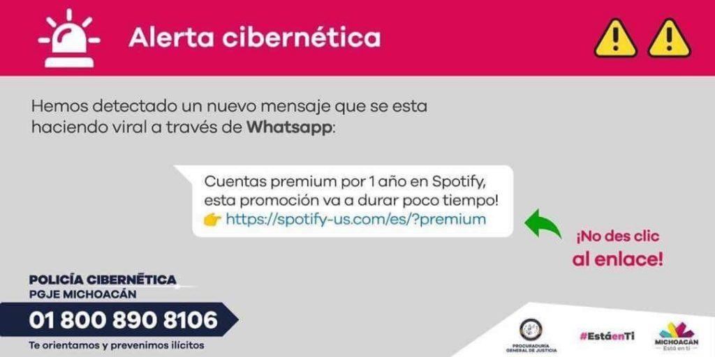 Estafa por Whatsapp puede observar que la pagina web oficial de Spotify no es la que se ve en la imagen